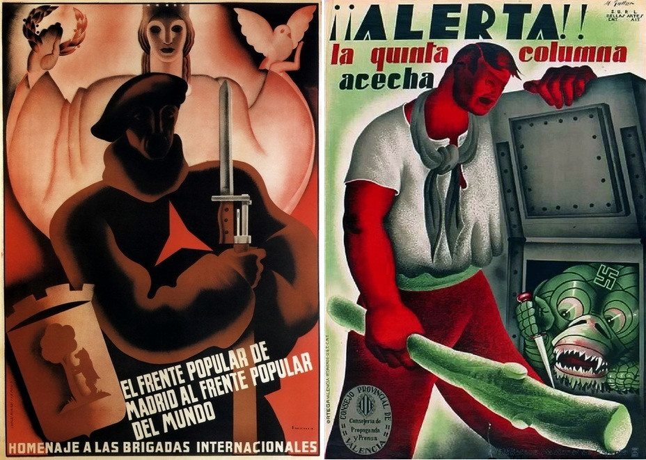 "​On the left: «Madrid's Popular Front is the Popular Front for Peace."" A poster dedicated to the International Brigades that fought for the Spanish capital. The soldier with the insignia of the International Brigades on his chest is standing in the shadow of the allegorical image of the Republic, the coat of arms of Madrid is next to him. On the right, there is a poster devoted to the hidden fifth column. The kind of danger and the place where it is hiding can cause some misunderstandings. What is it? A garbage chute? - Highlights for Warspot: The last romantic war 