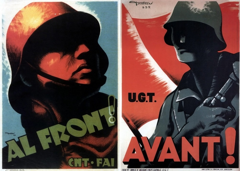 ​Two simple posters. The left picture contains a call to the front from anarchists and anarcho-syndicalists. The right poster was issued by the General Union of Workers - Highlights for Warspot: The last romantic war | Warspot.net
