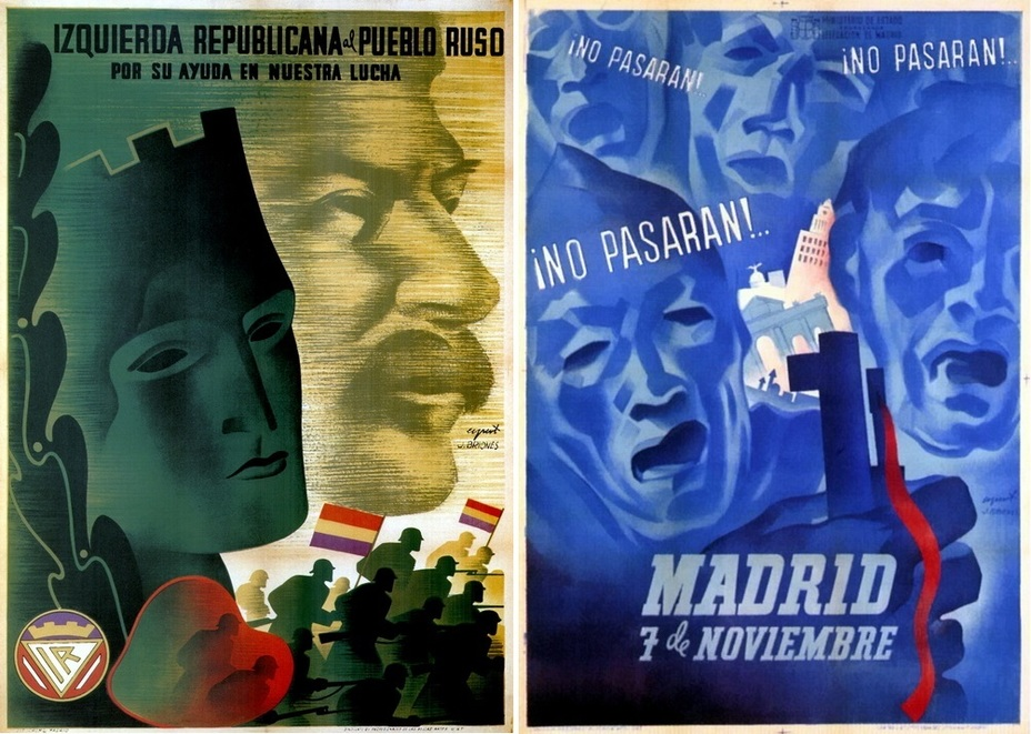 "​On the left: «The Republican Left thanks Soviet people for their help in the fight."" Some circumstances forced the relatively moderate Republican Left to print Stalin's mustache on their poster. They would have preferred to portray British and French mustaches, of course, but France and Great Britain remained neutral. On the right: ""No pasaran! — They shall not pass!» The most famous words of the Spanish Civil War, and another poster about the defense of Madrid - Highlights for Warspot: The last romantic war 
