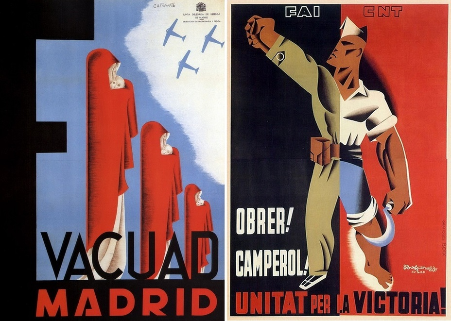 "​The poster on the left encourages citizens to evacuate from Madrid. In the fall of 1936, the city was massively bombed, and several thousand of its inhabitants died. On the right: ""Worker! Peasant! Unite for the sake of victory!» The poster in red and black from FAI and CNT anarchists - Highlights for Warspot: The last romantic war 