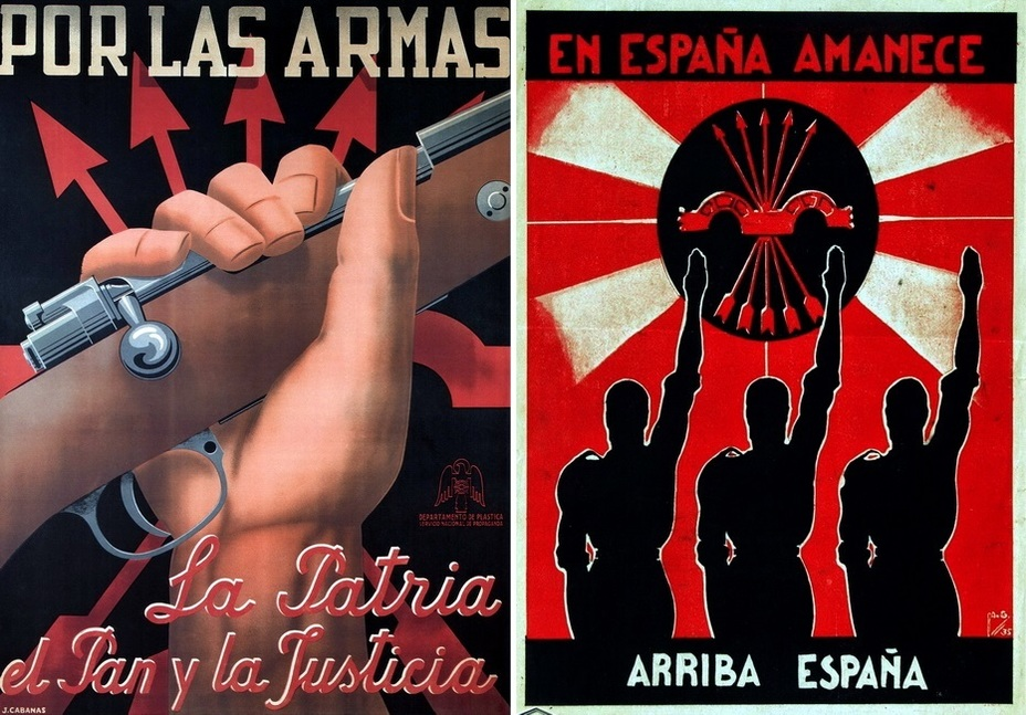 "​On the left: ""To arms! Homeland, bread, and justice."" On the right: ""The sun is rising in Spain. Go, Spain!» - Highlights for Warspot: Propaganda of the Falange 