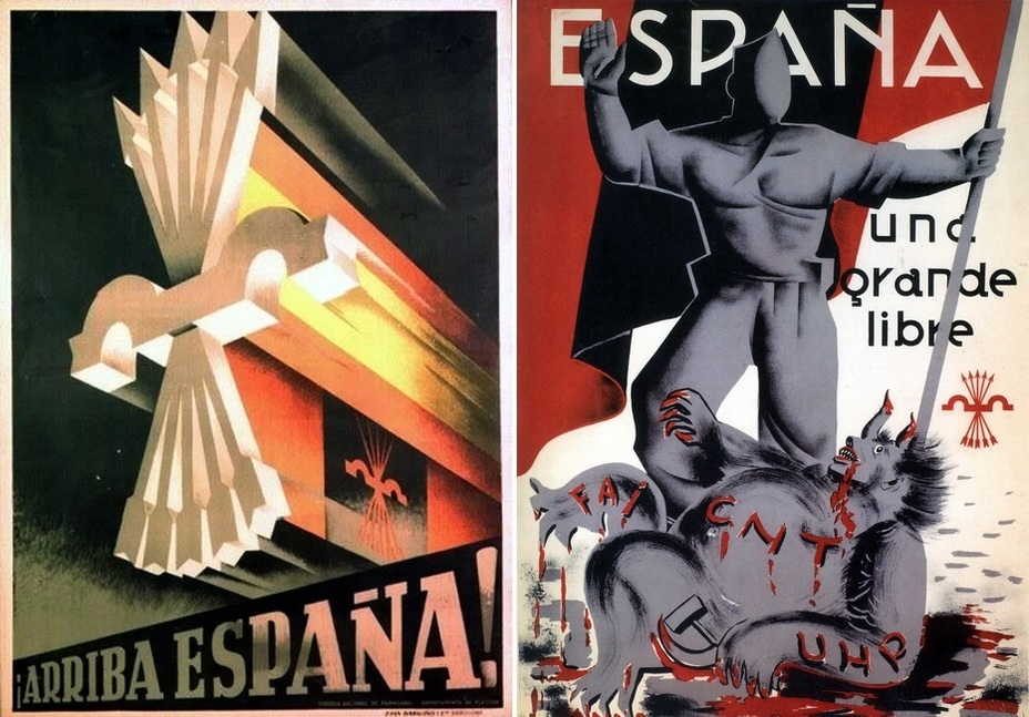 "​The left poster is even simpler than the previous one. National and falangist colors in the background, and the call «Go, Spain!» On the right: «Spain will be free."" The defeated monster with the hammer and sickle is signed with the abbreviations of left political parties - Highlights for Warspot: Propaganda of the Falange 