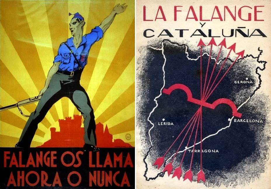 "​On the left: ""Falange is calling you. It's now or never!» On the right: "" Falange and Catalonia». The poster is devoted to the offensive of the nationalists in the north of the country - Highlights for Warspot: Propaganda of the Falange 