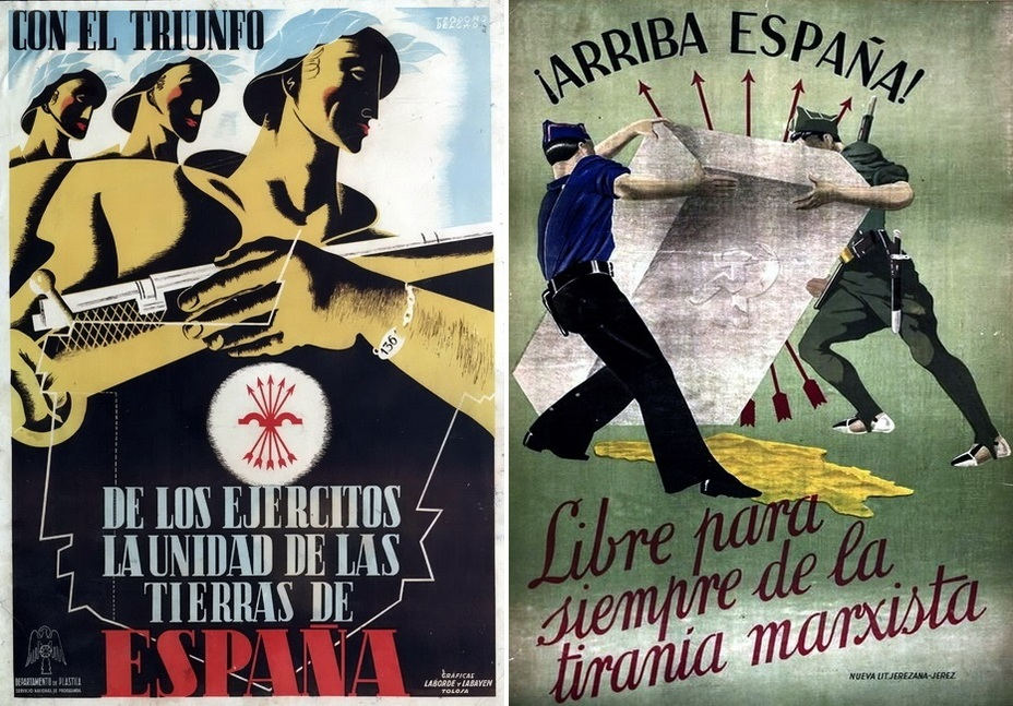 "​On the left: «Victory!» The poster is apparently devoted to the unification of the previously disparate parts of the country, controlled by the rebels. On the right: ""Go, Spain! Be free from Marxist tyranny!» Nationalists are erecting a headstone marked with a hammer and sickle - Highlights for Warspot: Propaganda of the Falange 