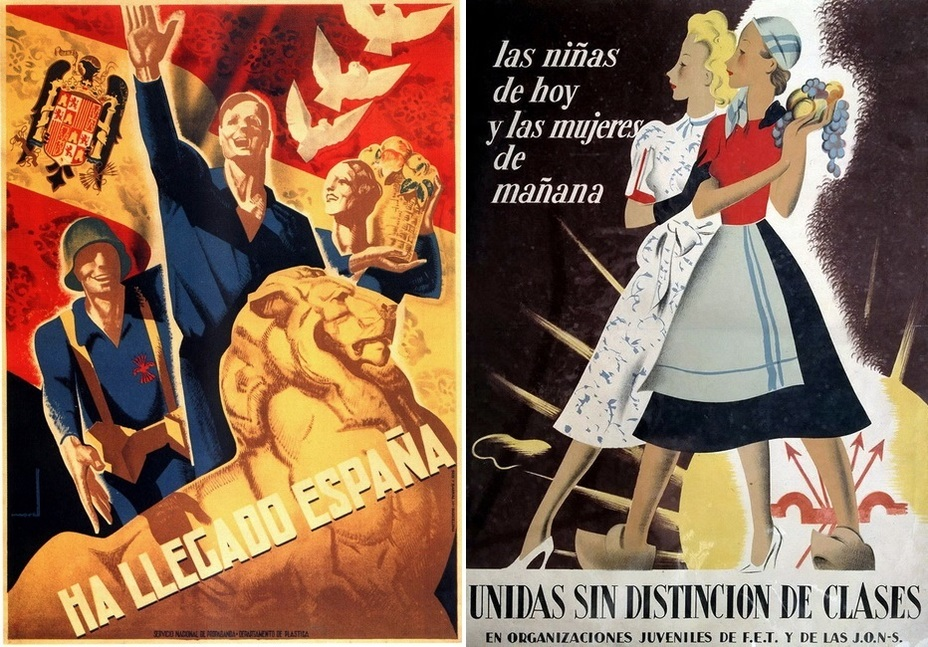 ​The poster on the left tells about Spain that reached prosperity and peace. The slogan on the right is more interesting: «Today girls, tomorrow women!» A poster dedicated to youth unions within the Falange - Highlights for Warspot: Propaganda of the Falange | Warspot.net