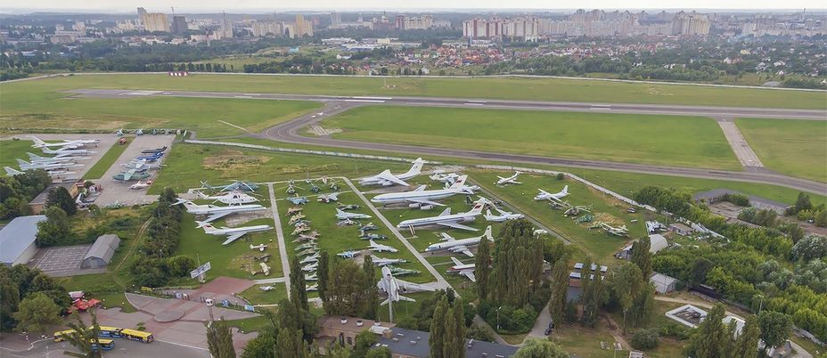 "​Top view of the museum. In the background is the ""Kyiv"" airport runway. — aviamuseum.com.ua - «Hidden» Aviation Museum 